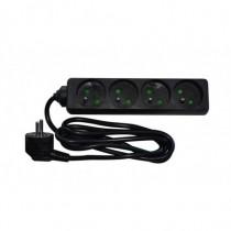 Multiprise 4 PC 16A noire câble 3x1.5mm_ 1.5m