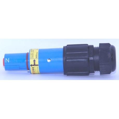 Fiche  drain mâle 600A bleue 240mm_