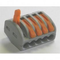 Bornes 5 circuits(0.2 à - 4mm2) - Pour câble souple ou rigide