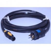 Prolongateur 2P+T 16A NF mâle/Powercon True one femelle 1m