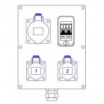 1 socle 32 mono CEE17 2 socles 16A mono CEE17 2 disjoncteurs 16A