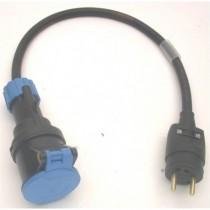 Adaptateur 2P+T 16A mâle NF / femelle CEE17  1m