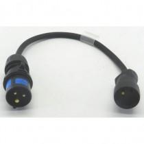 Adaptateur 2P+T 16A  mâle  CEE17 / femelle NF 50cm