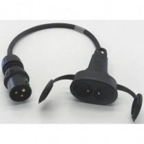 Adaptateur 2P+T 16A  mâle  CEE17 / femelle double NF 50cm