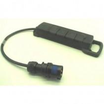Adaptateur 2P+T 16A  mâle  CEE17 / femelle quadruplette NF 50cm