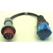 Adaptateur  3P+N+T 125A mâle CEE17 /  femelle Maréchal DS9 50cm