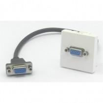 Plastron 45 embase VGA  femelle cordon 20cm VGA femelle