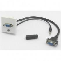 Plastron 45 embase VGA+ jack 3.5  femelle cordon 20cm VGA  jack F